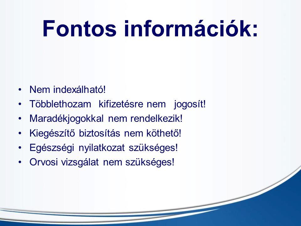 Fontos információk: Nem indexálható.Többlethozam kifizetésre nem jogosít.