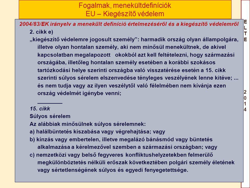 ELTE 2014ELTE 2014 Fogalmak, menekültdefiníciók EU – Kiegészítő védelem 2004/83/EK irányelv a menekült definíció értelmezéséről és a kiegészítő védele
