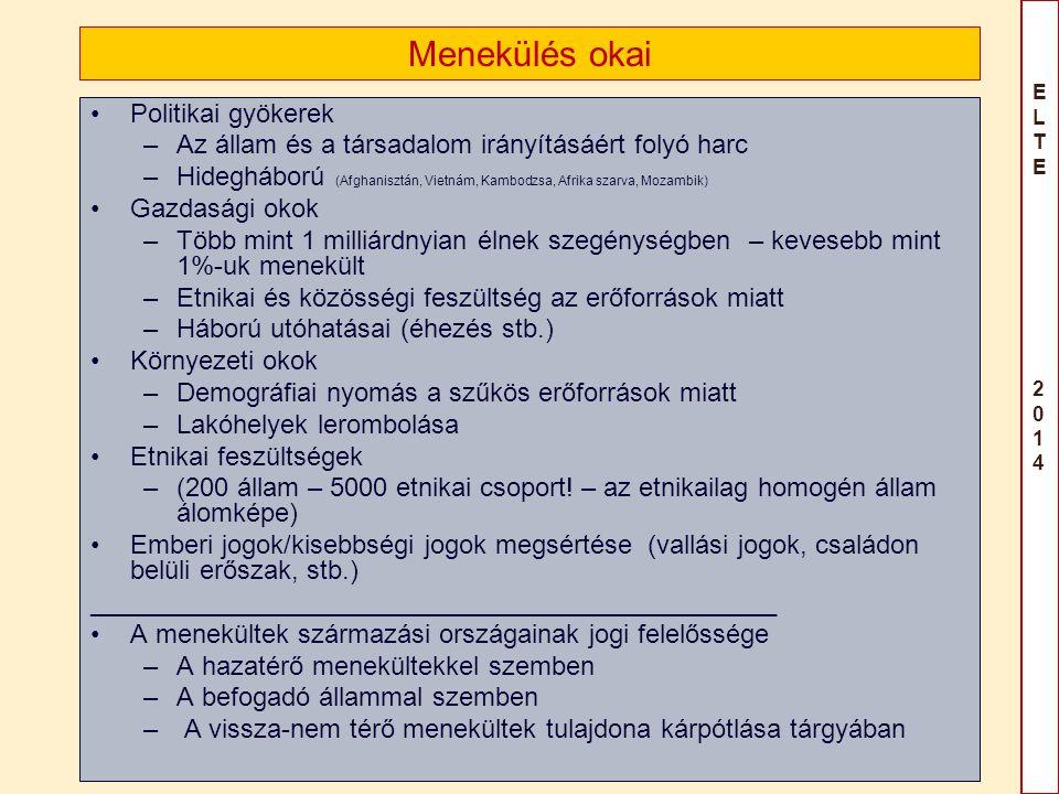 ELTE 2014ELTE 2014 Önkéntes hazatérés (visszatérés) Leginkább kedvelt megoldás –Etatista megközelítés: eszköz, hogy eltávolítsák –liberális: legjobb a menekültnek (valóban?) (D.Joly: Rubicon/Odysseus – típus ) Kérdések: –Viszony az üdözési ok megszűnéséhez (see, e.g.