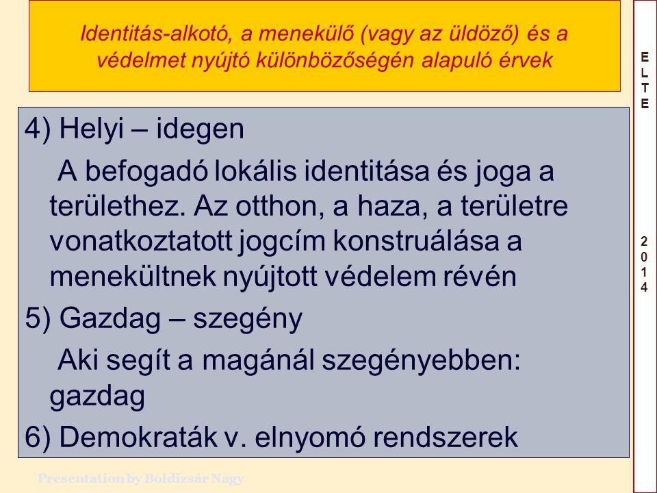 ELTE 2014ELTE 2014 Identitás-alkotó, a menekülő (vagy az üldöző) és a védelmet nyújtó különbözőségén alapuló érvek 4) Helyi – idegen A befogadó lokáli