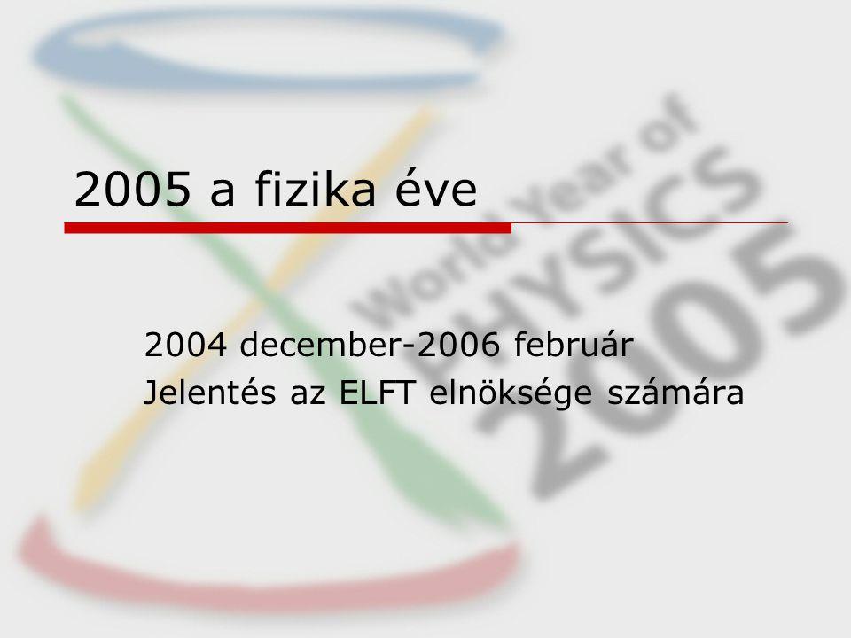 2005 a fizika éve 2004 december-2006 február Jelentés az ELFT elnöksége számára