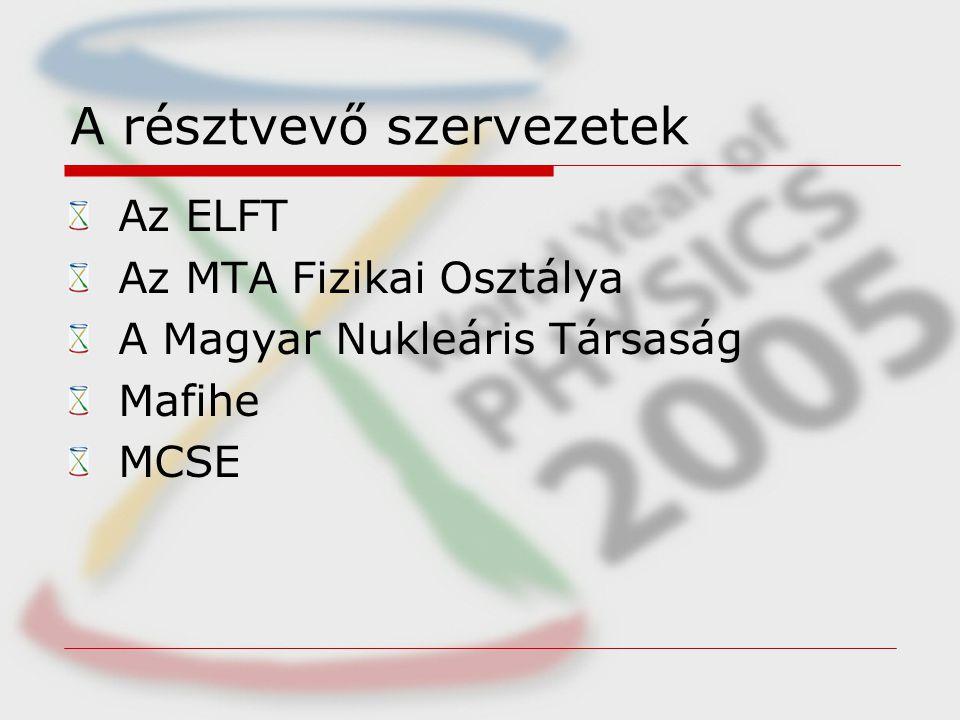 A résztvevő szervezetek Az ELFT Az MTA Fizikai Osztálya A Magyar Nukleáris Társaság Mafihe MCSE