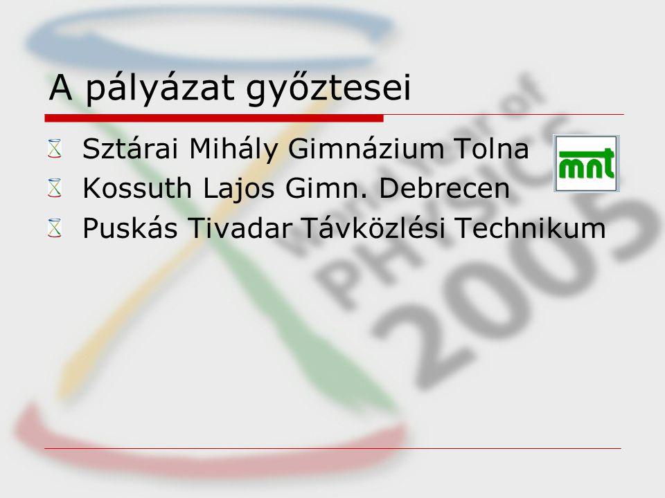 A pályázat győztesei Sztárai Mihály Gimnázium Tolna Kossuth Lajos Gimn.