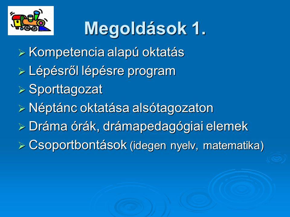 Megoldások 1.  Kompetencia alapú oktatás  Lépésről lépésre program  Sporttagozat  Néptánc oktatása alsótagozaton  Dráma órák, drámapedagógiai ele