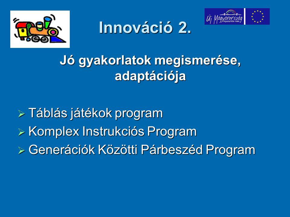 Innováció 2. Jó gyakorlatok megismerése, adaptációja Jó gyakorlatok megismerése, adaptációja  Táblás játékok program  Komplex Instrukciós Program 