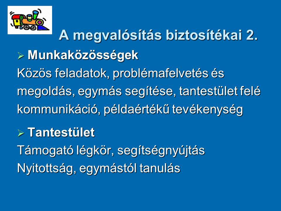 A megvalósítás biztosítékai 2.  Munkaközösségek Közös feladatok, problémafelvetés és megoldás, egymás segítése, tantestület felé kommunikáció, példaé