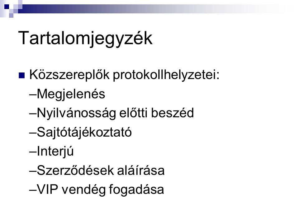 Tartalomjegyzék Közszereplők protokollhelyzetei: –Megjelenés –Nyilvánosság előtti beszéd –Sajtótájékoztató –Interjú –Szerződések aláírása –VIP vendég