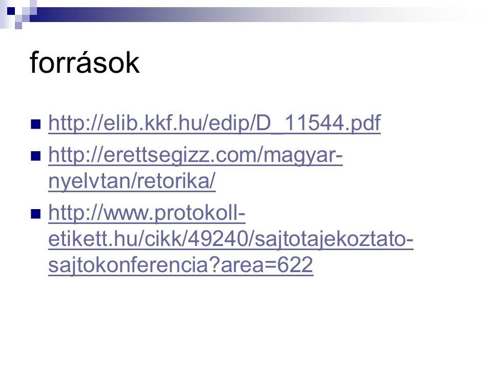 források http://elib.kkf.hu/edip/D_11544.pdf http://erettsegizz.com/magyar- nyelvtan/retorika/ http://erettsegizz.com/magyar- nyelvtan/retorika/ http:
