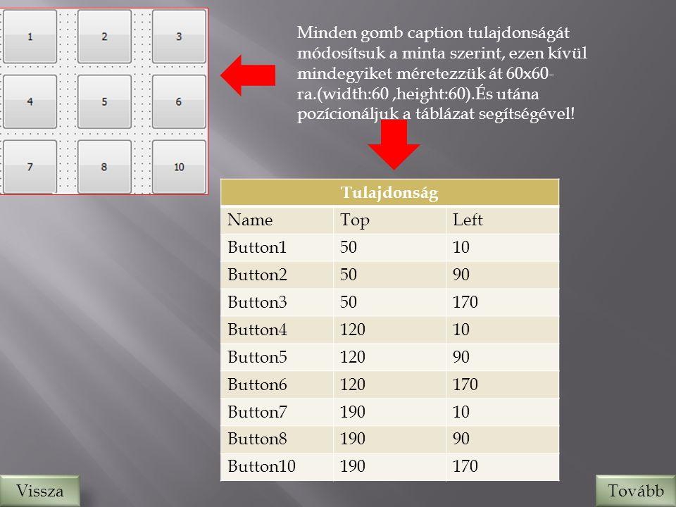 Minden gomb caption tulajdonságát módosítsuk a minta szerint, ezen kívül mindegyiket méretezzük át 60x60- ra.(width:60,height:60).És utána pozícionáljuk a táblázat segítségével.