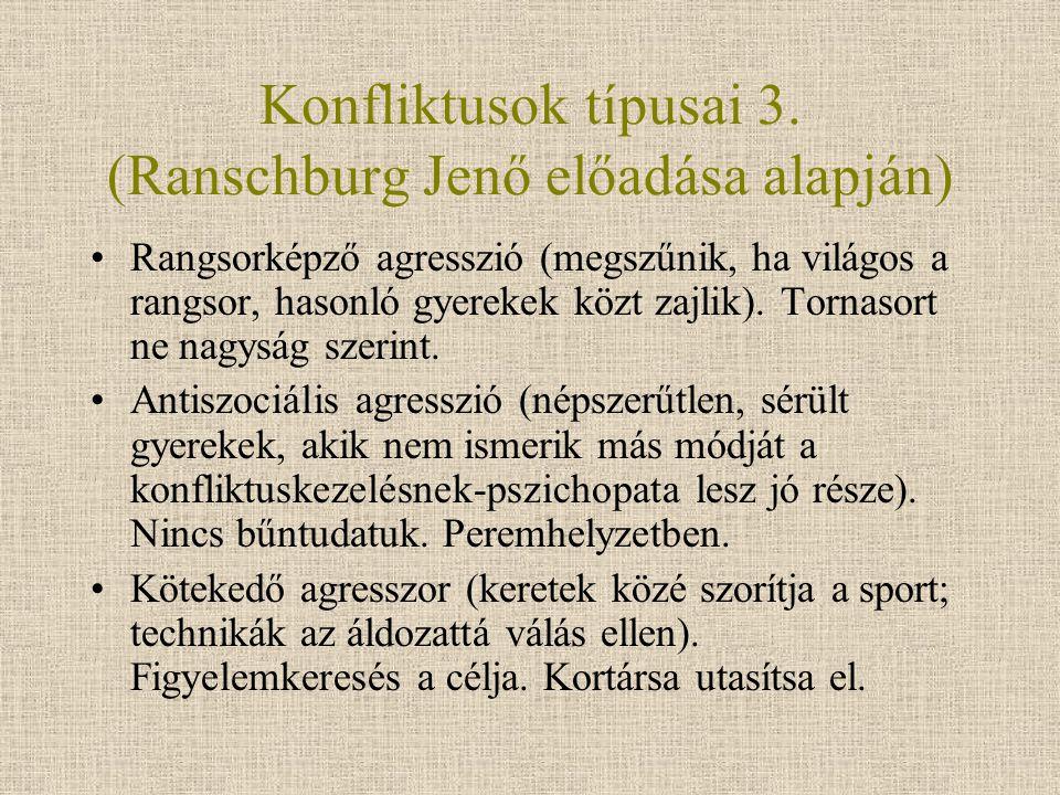Konfliktusok típusai 3. (Ranschburg Jenő előadása alapján) Rangsorképző agresszió (megszűnik, ha világos a rangsor, hasonló gyerekek közt zajlik). Tor