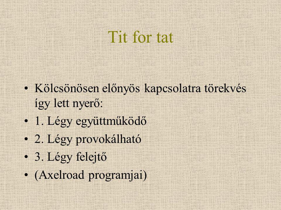 Tit for tat Kölcsönösen előnyös kapcsolatra törekvés így lett nyerő: 1. Légy együttműködő 2. Légy provokálható 3. Légy felejtő (Axelroad programjai)