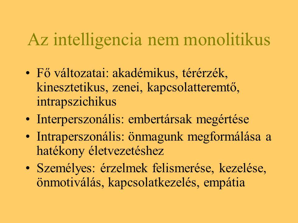 Az intelligencia nem monolitikus Fő változatai: akadémikus, térérzék, kinesztetikus, zenei, kapcsolatteremtő, intrapszichikus Interperszonális: embert