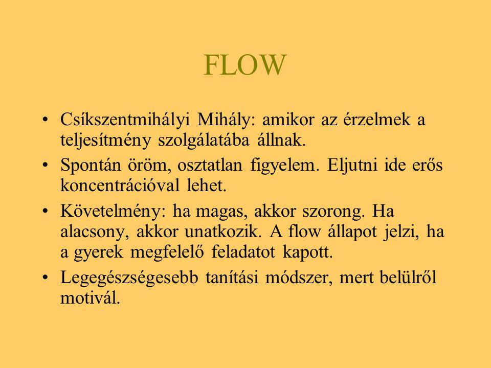 FLOW Csíkszentmihályi Mihály: amikor az érzelmek a teljesítmény szolgálatába állnak. Spontán öröm, osztatlan figyelem. Eljutni ide erős koncentrációva