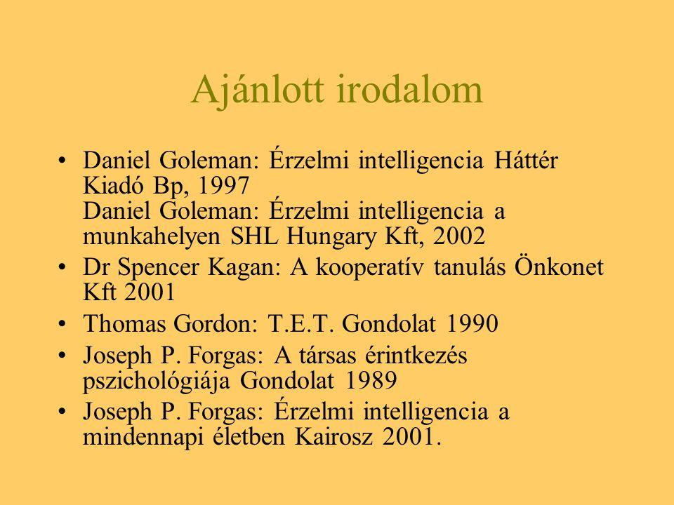 Ajánlott irodalom Daniel Goleman: Érzelmi intelligencia Háttér Kiadó Bp, 1997 Daniel Goleman: Érzelmi intelligencia a munkahelyen SHL Hungary Kft, 200
