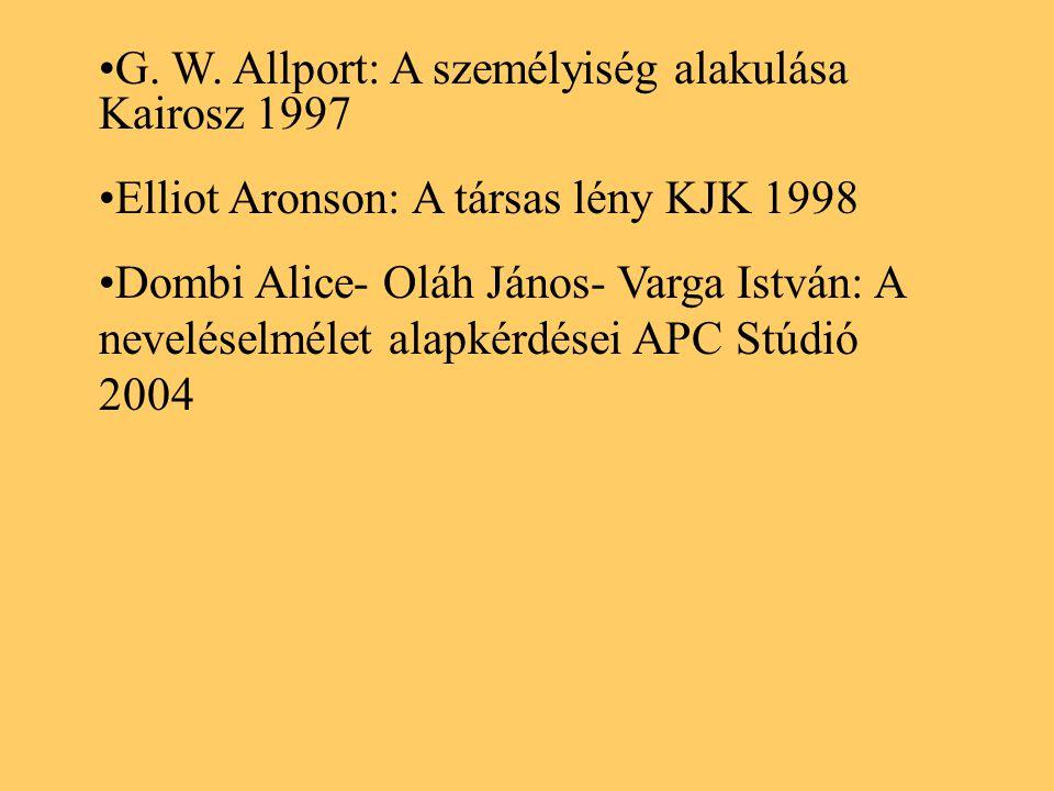 G. W. Allport: A személyiség alakulása Kairosz 1997 Elliot Aronson: A társas lény KJK 1998 Dombi Alice- Oláh János- Varga István: A neveléselmélet ala