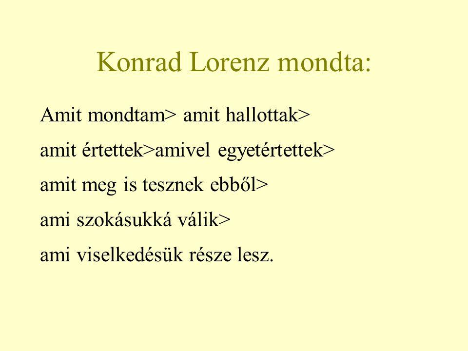 Konrad Lorenz mondta: Amit mondtam> amit hallottak> amit értettek>amivel egyetértettek> amit meg is tesznek ebből> ami szokásukká válik> ami viselkedé