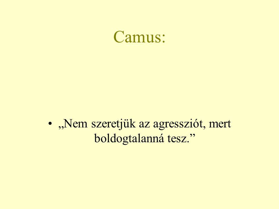 """Camus: """"Nem szeretjük az agressziót, mert boldogtalanná tesz."""""""