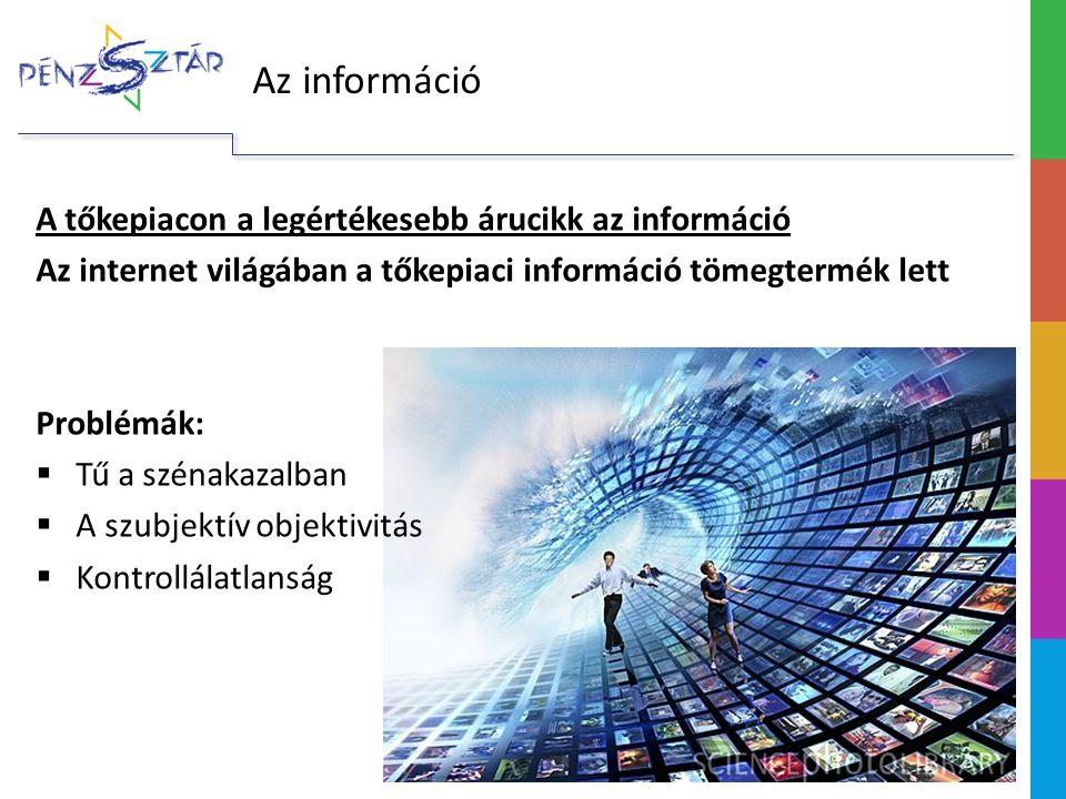 Az információ A tőkepiacon a legértékesebb árucikk az információ Az internet világában a tőkepiaci információ tömegtermék lett Problémák:  Tű a széna