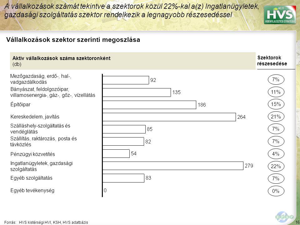 16 Forrás:HVS kistérségi HVI, KSH, HVS adatbázis Vállalkozások szektor szerinti megoszlása A vállalkozások számát tekintve a szektorok közül 22%-kal a(z) Ingatlanügyletek, gazdasági szolgáltatás szektor rendelkezik a legnagyobb részesedéssel Aktív vállalkozások száma szektoronként (db) Mezőgazdaság, erdő-, hal-, vadgazdálkodás Bányászat, feldolgozóipar, villamosenergia-, gáz-, gőz-, vízellátás Építőipar Kereskedelem, javítás Szálláshely-szolgáltatás és vendéglátás Szállítás, raktározás, posta és távközlés Pénzügyi közvetítés Ingatlanügyletek, gazdasági szolgáltatás Egyéb szolgáltatás Egyéb tevékenység Szektorok részesedése 7% 11% 21% 7% 22% 7% 0% 15% 4%