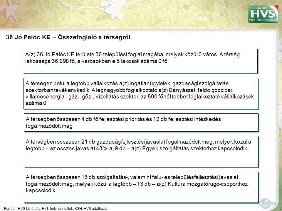 2 Forrás:HVS kistérségi HVI, helyi érintettek, KSH, HVS adatbázis 36 Jó Palóc KE – Összefoglaló a térségről A térségen belül a legtöbb vállalkozás a(z) Ingatlanügyletek, gazdasági szolgáltatás szektorban tevékenykedik.