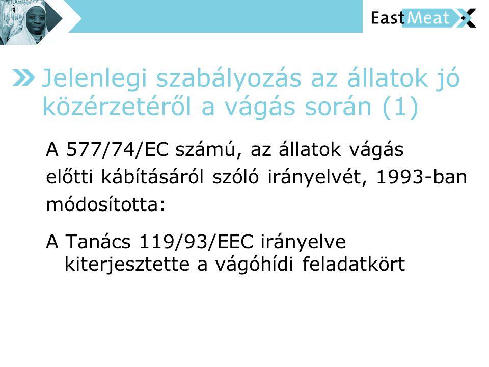 A 577/74/EC számú, az állatok vágás előtti kábításáról szóló irányelvét, 1993-ban módosította: A Tanács 119/93/EEC irányelve kiterjesztette a vágóhídi feladatkört Jelenlegi szabályozás az állatok jó közérzetéről a vágás során (1)