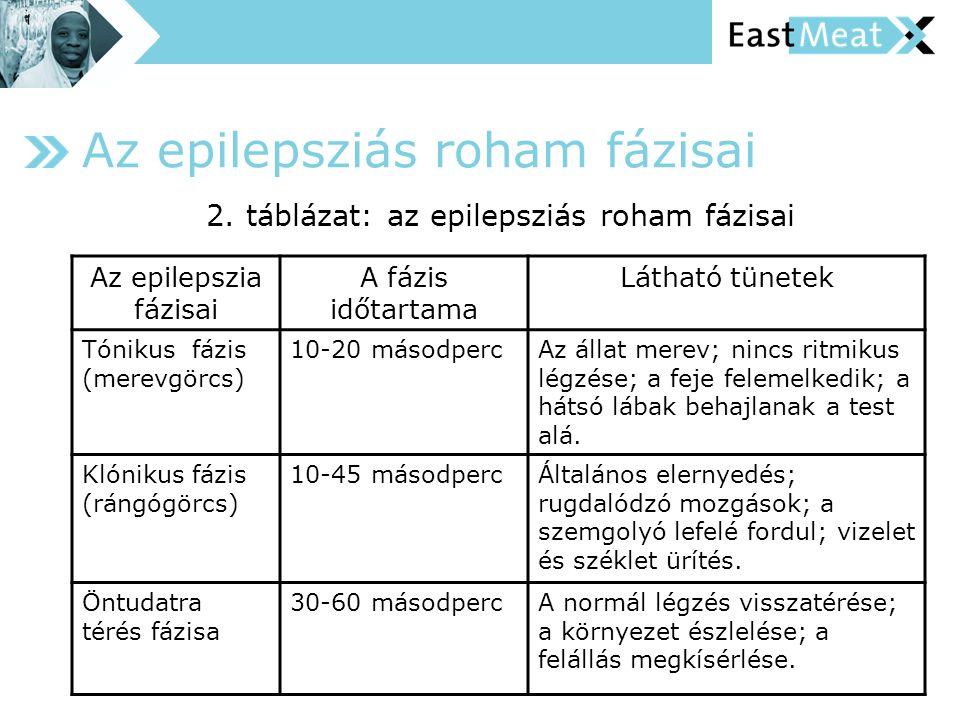 Az epilepsziás roham fázisai Az epilepszia fázisai A fázis időtartama Látható tünetek Tónikus fázis (merevgörcs) 10-20 másodpercAz állat merev; nincs ritmikus légzése; a feje felemelkedik; a hátsó lábak behajlanak a test alá.