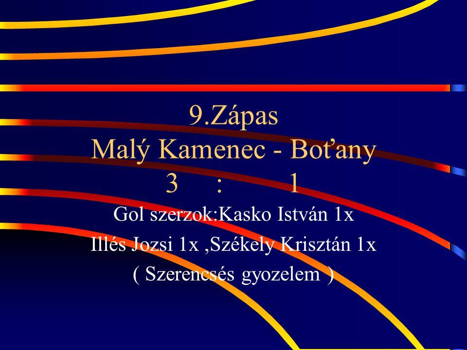 9.Zápas Malý Kamenec - Boťany 3 : 1 Gol szerzok:Kasko István 1x Illés Jozsi 1x,Székely Krisztán 1x ( Szerencsés gyozelem )