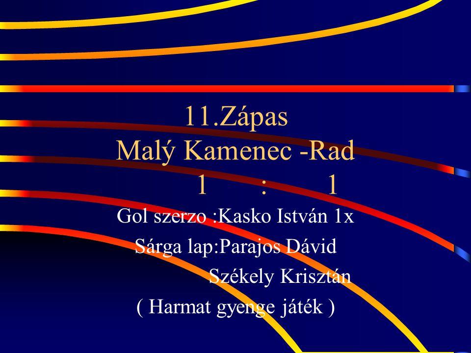 11.Zápas Malý Kamenec -Rad 1 : 1 Gol szerzo :Kasko István 1x Sárga lap:Parajos Dávid Székely Krisztán ( Harmat gyenge játék )