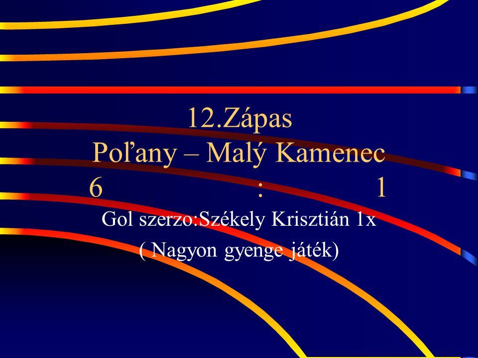 12.Zápas Poľany – Malý Kamenec 6 : 1 Gol szerzo:Székely Krisztián 1x ( Nagyon gyenge játék)