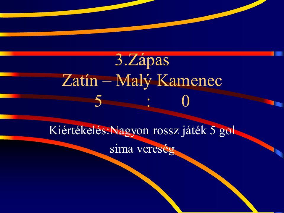 3.Zápas Zatín – Malý Kamenec 5 : 0 Kiértékelés:Nagyon rossz játék 5 gol sima vereség