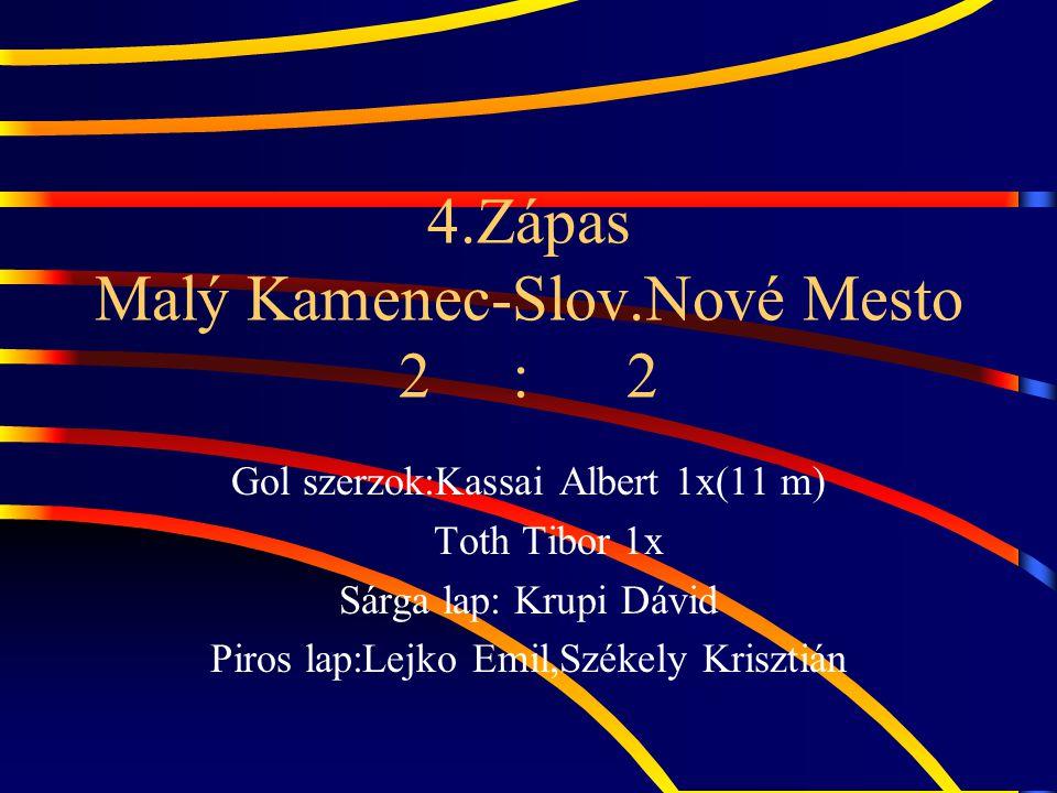 5.Zápas Brehov – Malý Kamenec 1 : 0 Kiétrékelés: Jo játék,sok kihagyot helyzet,1 szerencsés hazai gol.