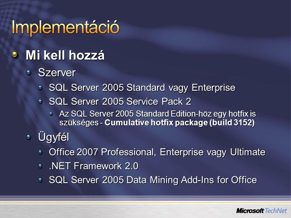 Mi kell hozzá Szerver SQL Server 2005 Standard vagy Enterprise SQL Server 2005 Service Pack 2 Az SQL Server 2005 Standard Edition-höz egy hotfix is szükséges - Cumulative hotfix package (build 3152) Ügyfél Office 2007 Professional, Enterprise vagy Ultimate.NET Framework 2.0 SQL Server 2005 Data Mining Add-Ins for Office