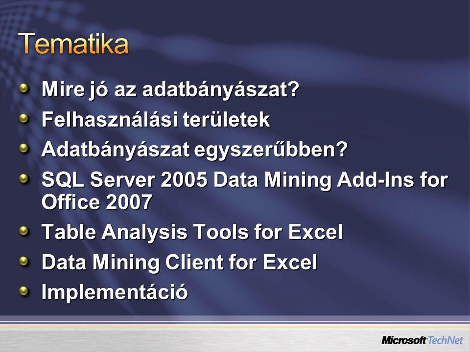 Mire jó az adatbányászat? Felhasználási területek Adatbányászat egyszerűbben? SQL Server 2005 Data Mining Add-Ins for Office 2007 Table Analysis Tools