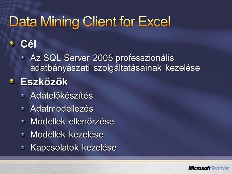 Cél Az SQL Server 2005 professzionális adatbányászati szolgáltatásainak kezelése EszközökAdatelőkészítésAdatmodellezés Modellek ellenőrzése Modellek kezelése Kapcsolatok kezelése