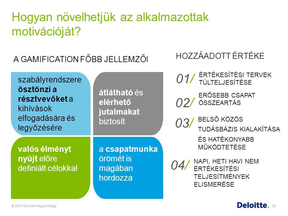 Hogyan növelhetjük az alkalmazottak motivációját? © 2014 Deloitte Magyarország23 A GAMIFICATION FŐBB JELLEMZŐI szabályrendszere ösztönzi a résztvevőke