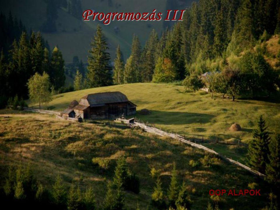 OBJEKTUM-ORIENTÁLT PARADIGMA Alan Kay diplomamunkája 1969: Tervek és elképzelések a SmallTalk programozási nyelv megtervezése