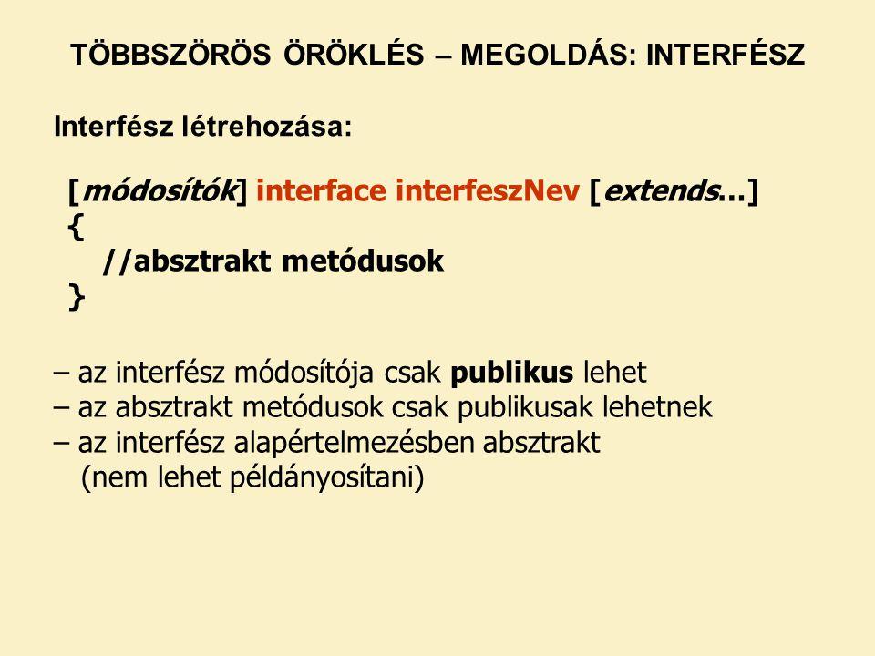 [módosítók] interface interfeszNev [extends…] { //absztrakt metódusok } – az interfész módosítója csak publikus lehet – az absztrakt metódusok csak pu
