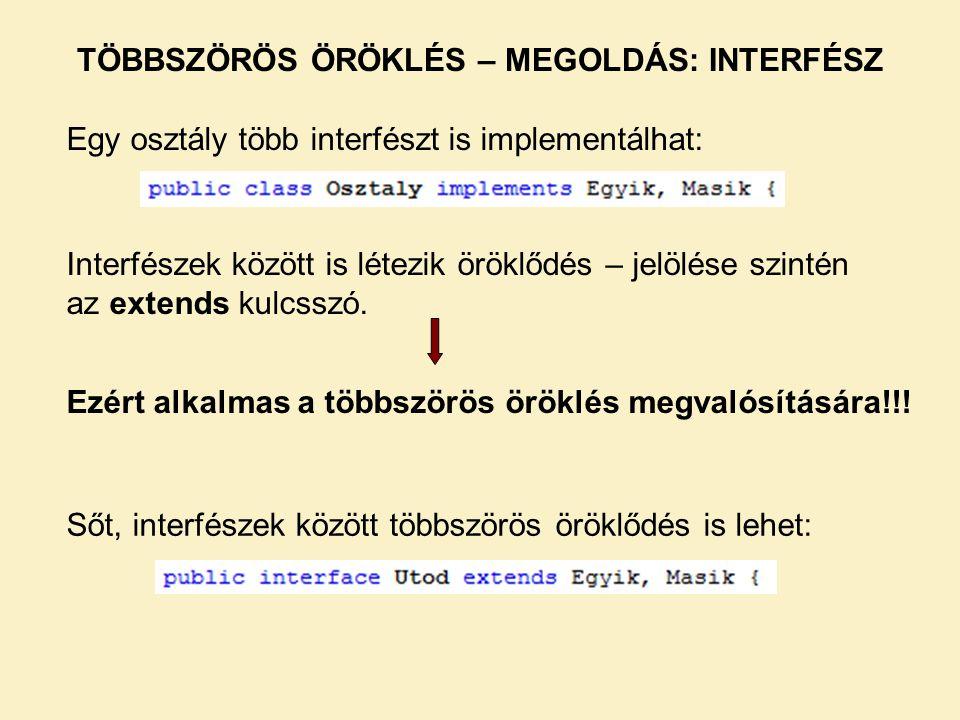 Ezért alkalmas a többszörös öröklés megvalósítására!!! TÖBBSZÖRÖS ÖRÖKLÉS – MEGOLDÁS: INTERFÉSZ Egy osztály több interfészt is implementálhat: Interfé