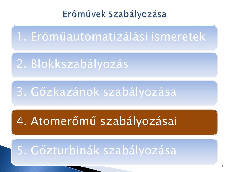 1.Erőműautomatizálási ismeretek 2. Blokkszabályozás 4.