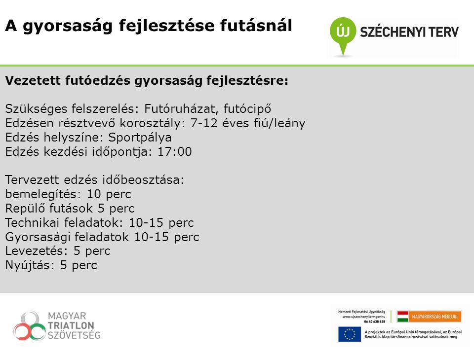 Vezetett futóedzés gyorsaság fejlesztésre: Szükséges felszerelés: Futóruházat, futócipő Edzésen résztvevő korosztály: 7-12 éves fiú/leány Edzés helysz