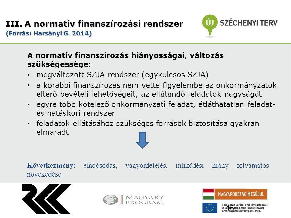 A normatív finanszírozás hiányosságai, változás szükségessége: megváltozott SZJA rendszer (egykulcsos SZJA) a korábbi finanszírozás nem vette figyelembe az önkormányzatok eltérő bevételi lehetőségeit, az ellátandó feladatok nagyságát egyre több kötelező önkormányzati feladat, átláthatatlan feladat- és hatásköri rendszer feladatok ellátásához szükséges források biztosítása gyakran elmaradt III.