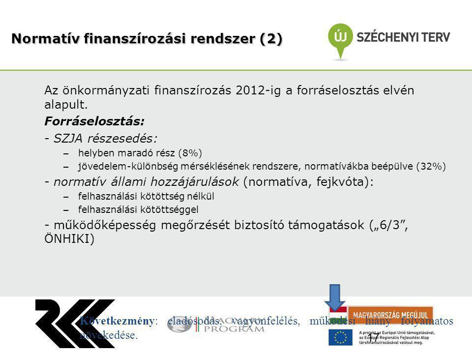 Az önkormányzati finanszírozás 2012-ig a forráselosztás elvén alapult. Forráselosztás: - SZJA részesedés: – helyben maradó rész (8%) – jövedelem-külön