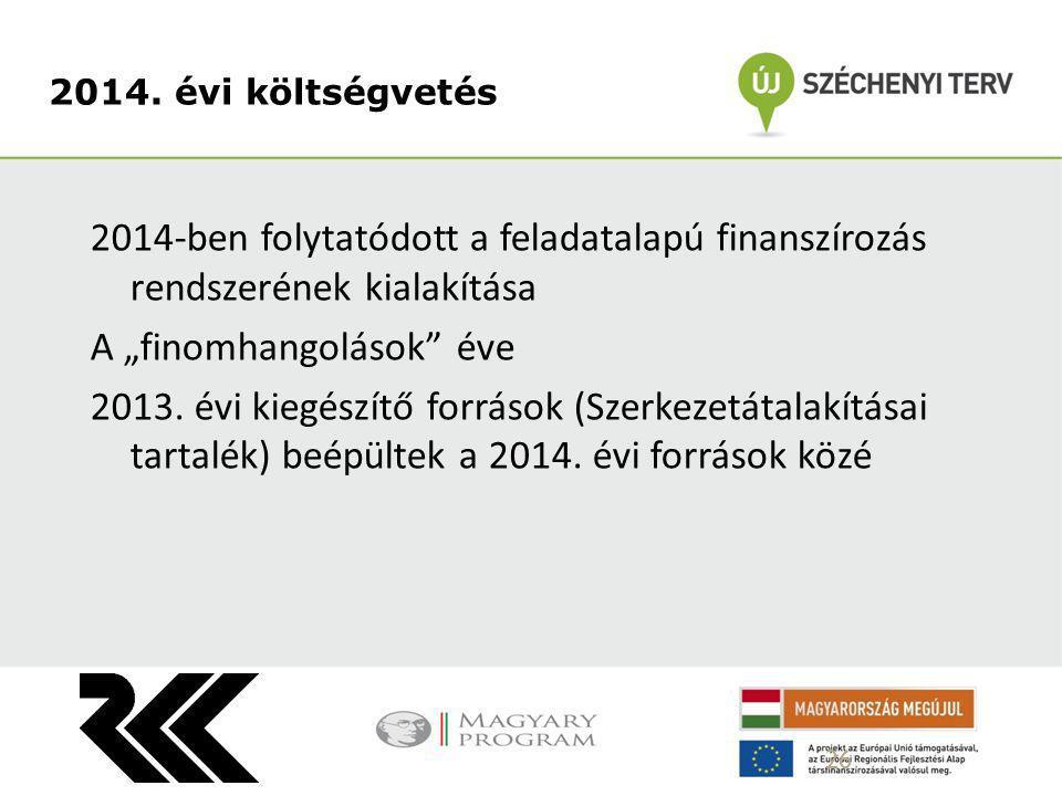 """2014-ben folytatódott a feladatalapú finanszírozás rendszerének kialakítása A """"finomhangolások"""" éve 2013. évi kiegészítő források (Szerkezetátalakítás"""