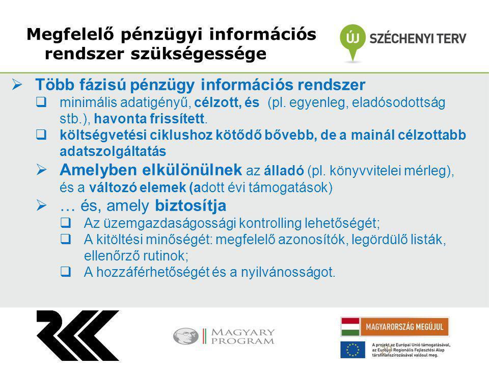 Megfelelő pénzügyi információs rendszer szükségessége 29  Több fázisú pénzügy információs rendszer  minimális adatigényű, célzott, és (pl. egyenleg,