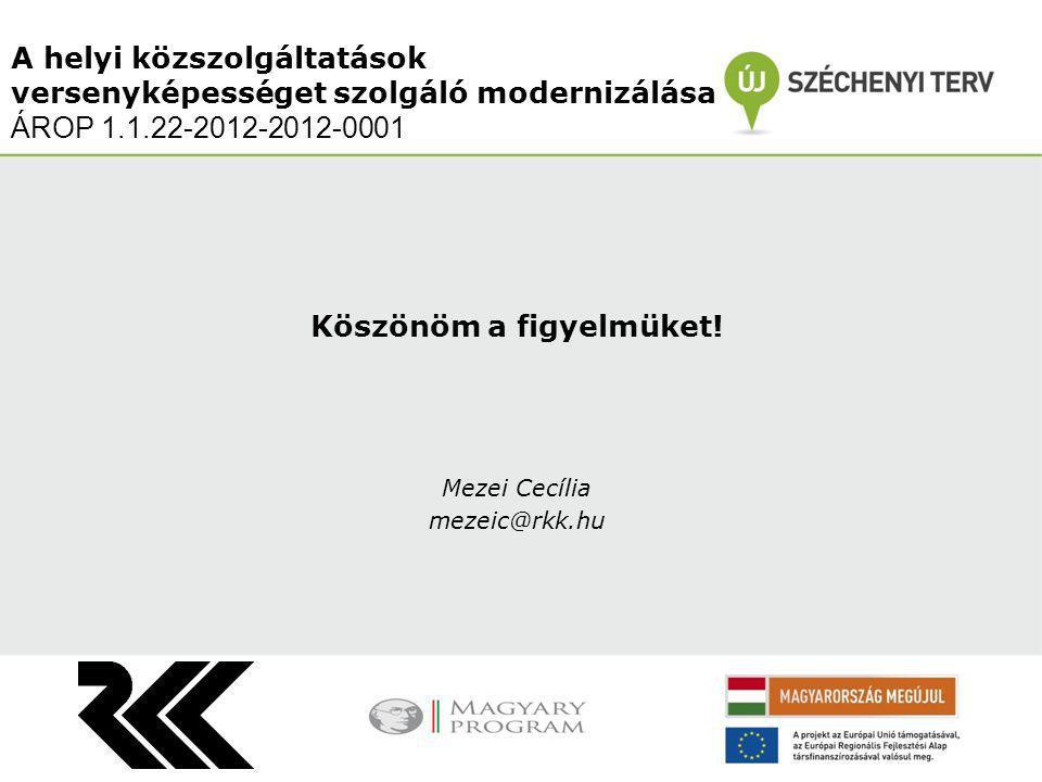 Köszönöm a figyelmüket! Mezei Cecília mezeic@rkk.hu A helyi közszolgáltatások versenyképességet szolgáló modernizálása ÁROP 1.1.22-2012-2012-0001