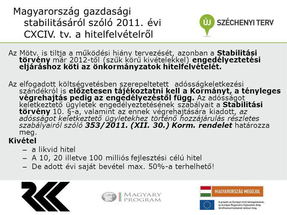 Az Mötv. is tiltja a működési hiány tervezését, azonban a Stabilitási törvény már 2012-től (szűk körű kivételekkel) engedélyeztetési eljáráshoz köti a
