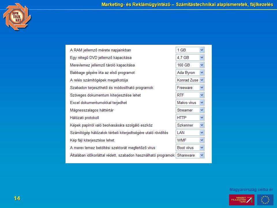 Marketing- és Reklámügyintéző – Számítástechnikai alapismeretek, fájlkezelés 14