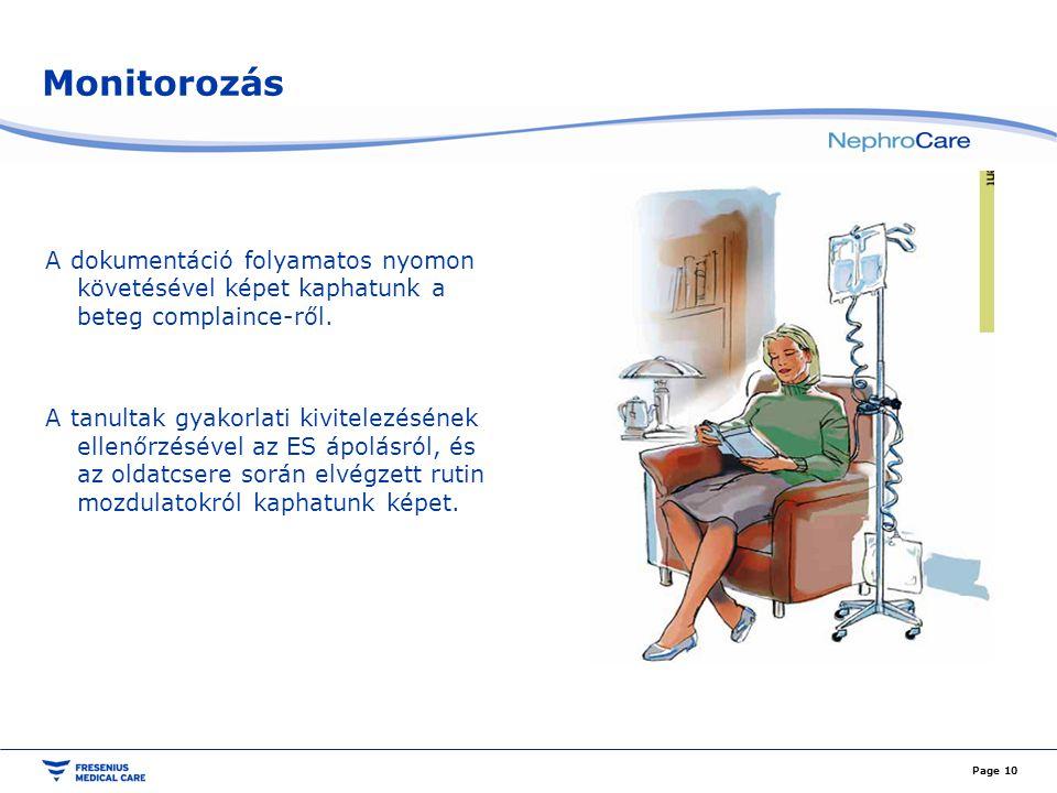Monitorozás A dokumentáció folyamatos nyomon követésével képet kaphatunk a beteg complaince-ről. A tanultak gyakorlati kivitelezésének ellenőrzésével