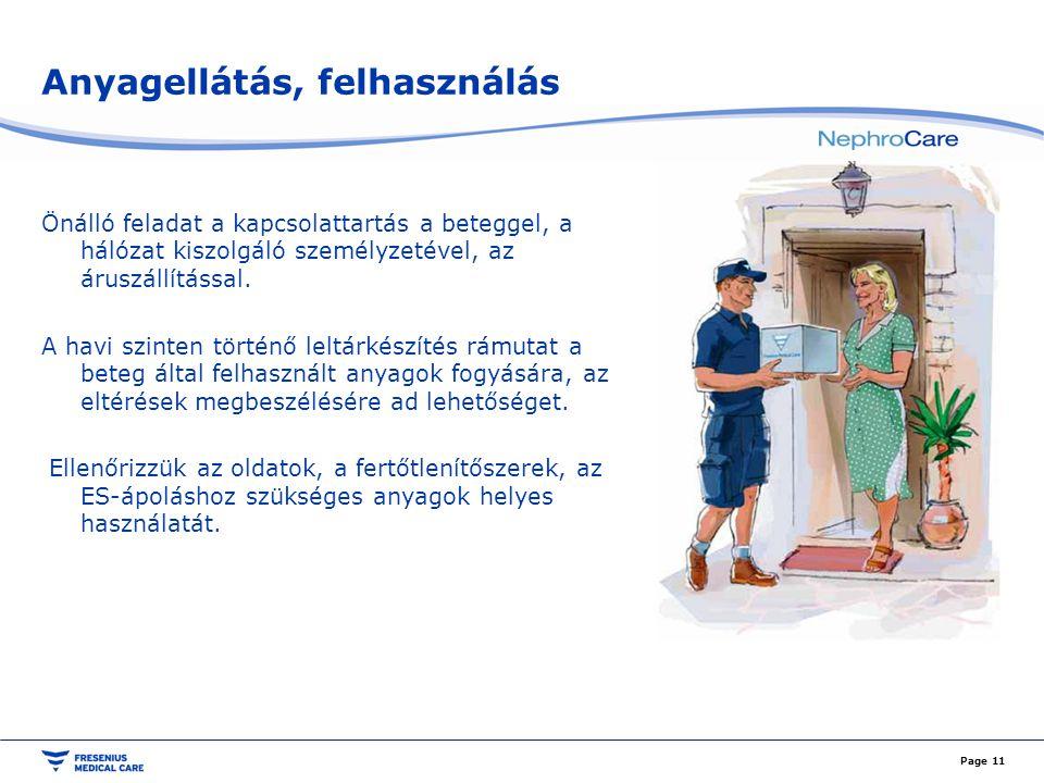 Anyagellátás, felhasználás Page 11 Önálló feladat a kapcsolattartás a beteggel, a hálózat kiszolgáló személyzetével, az áruszállítással. A havi szinte