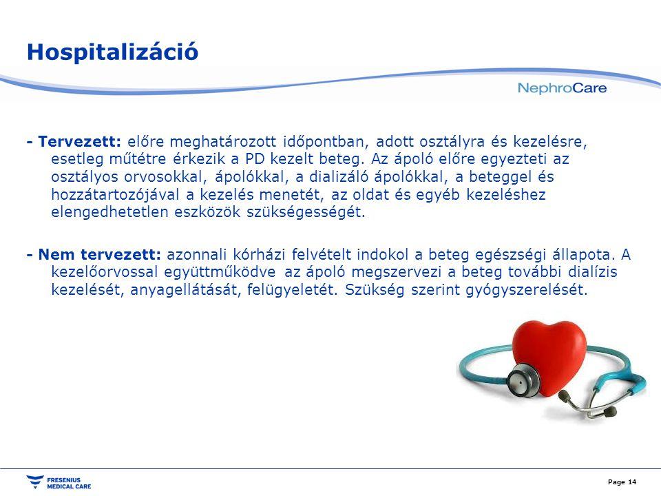 Hospitalizáció - Tervezett: előre meghatározott időpontban, adott osztályra és kezelésre, esetleg műtétre érkezik a PD kezelt beteg. Az ápoló előre eg